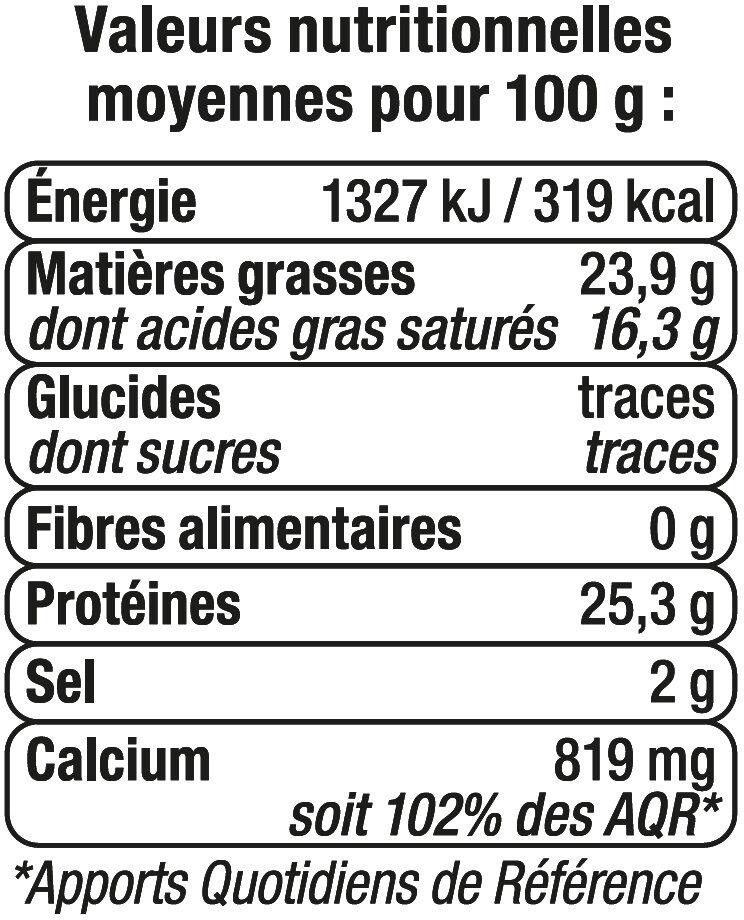 Edam en tranchettes au lait pasteurisé 24%MG - Informations nutritionnelles - fr