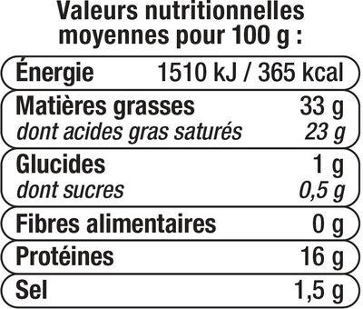 Fromage pasteurisé à pâte persillée Le Bleu 33% de MG - Nutrition facts