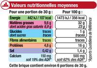Fromage Brique au lait de vache pasteurisé 32%MG - Nutrition facts