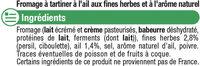 Fromage pasteurisé à tartiner ail et fines herbes 24% de MG - Ingrediënten