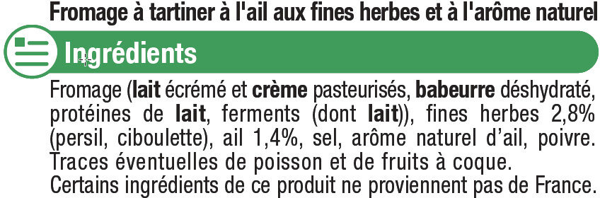 Fromage pasteurisé à tartiner ail et fines herbes 24% de MG - Ingredients