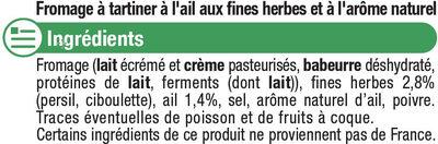 Fromage pasteurisé à tartiner ail et fines herbes 24% de MG - Ingrédients - fr