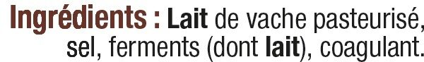 Camembert de Caractère au Lait Pasteurisé 21%MG - Ingrédients - fr