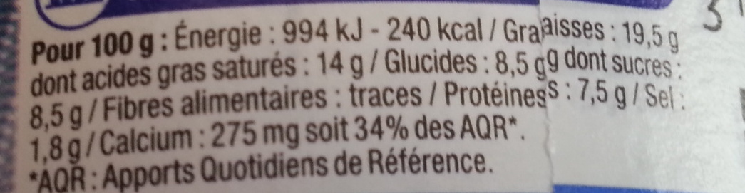 Triangles Fromagés 24 portions (19,5 % MG) - Voedingswaarden
