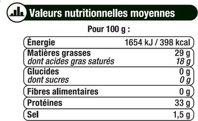 Grana Padano râpé DOP au lait cru 29%mg - Informations nutritionnelles - fr