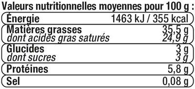 Mascarpone au lait pasteurisé 5%MG - Informations nutritionnelles