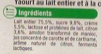 Yaourt & Crème Citron - Ingrediënten - fr