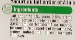 Yaourt & Crème Citron - Ingrédients - fr