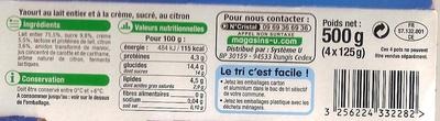Yaourt & Crème Citron - Voedingswaarden - fr
