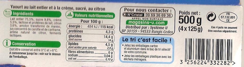 Yaourt & Crème Citron - Informations nutritionnelles - fr