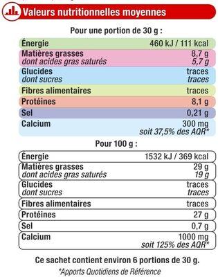 Fromage pasteurisé Emmental français râpé 29%MG - Informations nutritionnelles - fr