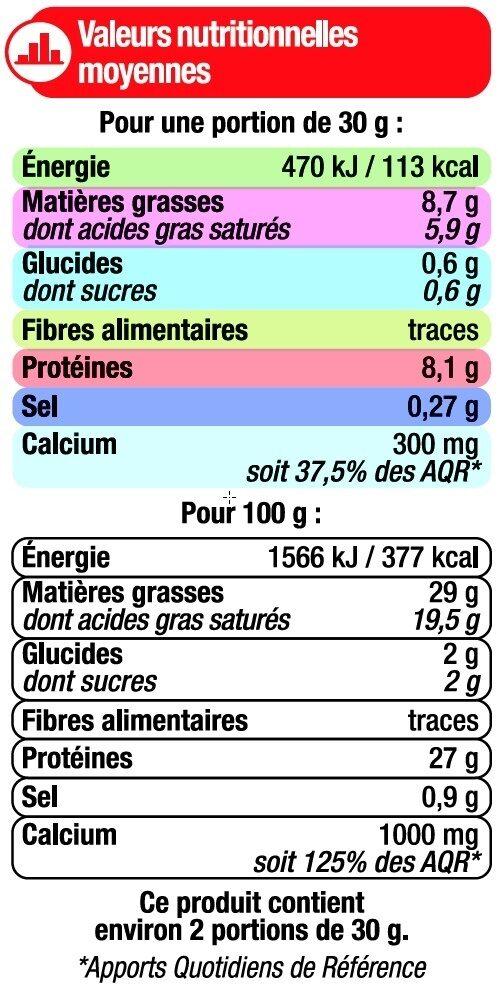 Emmental français pasteurisé rapé 29% de MG - Informations nutritionnelles - fr