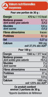 Emmental français rapé 29%mg - Nutrition facts - fr