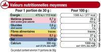 Emmental français au lait pasteurisé rapé 29% de MG - Informations nutritionnelles - fr