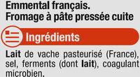 Emmental français pasteurisé, 28% de MG - Ingredients - fr