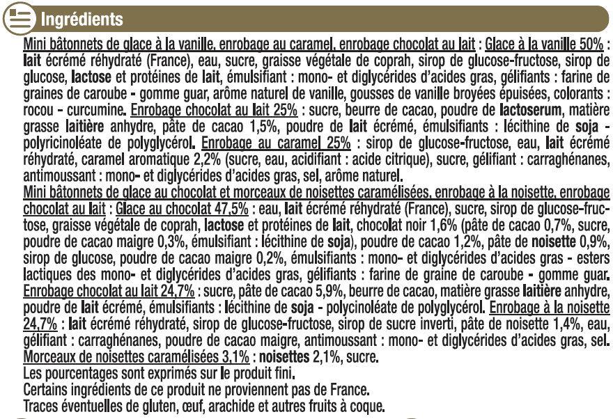 Bâtonnets folie de chocolat noisette - Ingrédients - fr