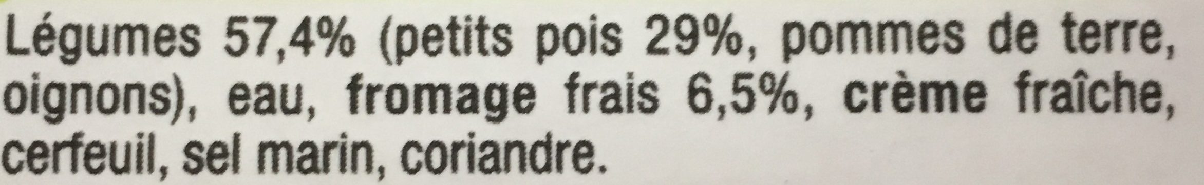 Soupe Petit Pois Fromage Frais - Ingrediënten