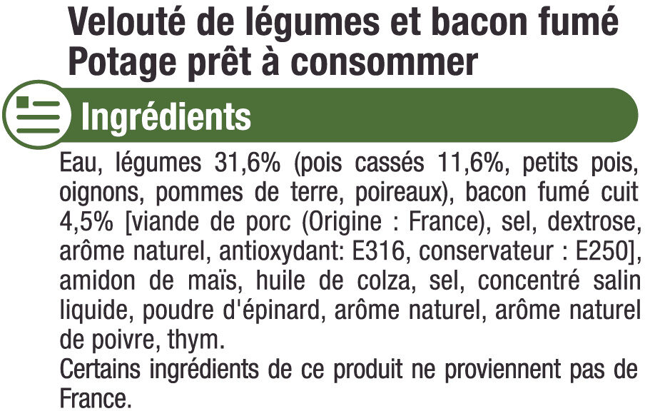 Velouté pois cassé et bacon - Inhaltsstoffe