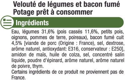 Velouté pois cassé et bacon - Ingrédients - fr