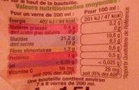 100%pur jus Orange sans pulpe - Voedingswaarden