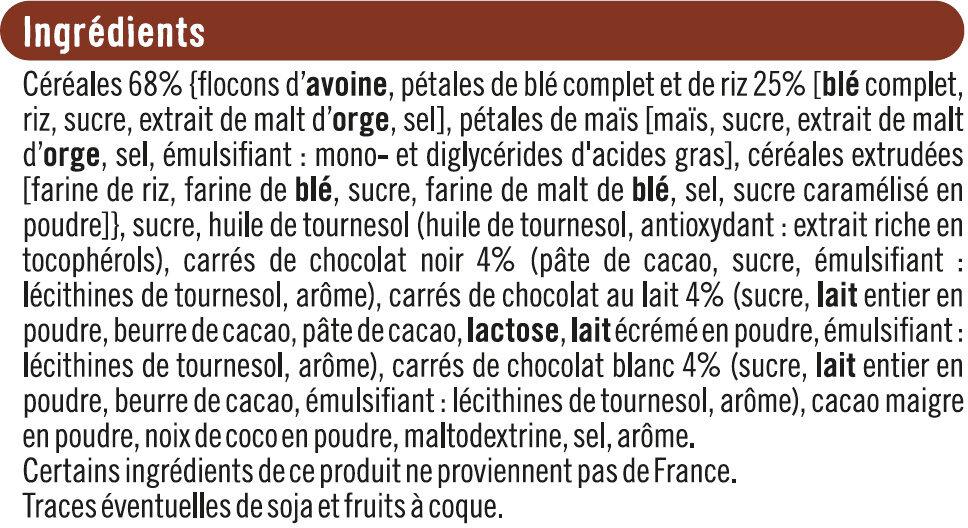Pépites et pétales aux 3 chocolats - Ingredienti - fr