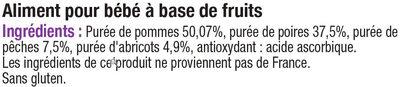 Pots pour bébé dessert pomme fruits du verger - Ingrédients