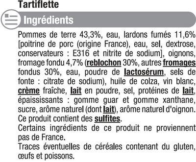Tartiflette au lardon fumés - Inhaltsstoffe