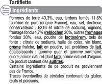 Tartiflette au lardon fumés - Ingrédients - fr