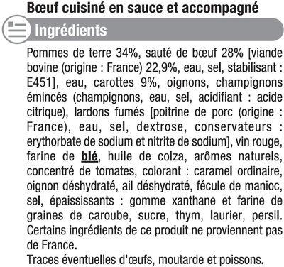 Boeuf bourguignon carottes et pomme de terre - Ingrédients