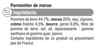 Parmentier de morue à la crème fraîche - Ingredients - fr