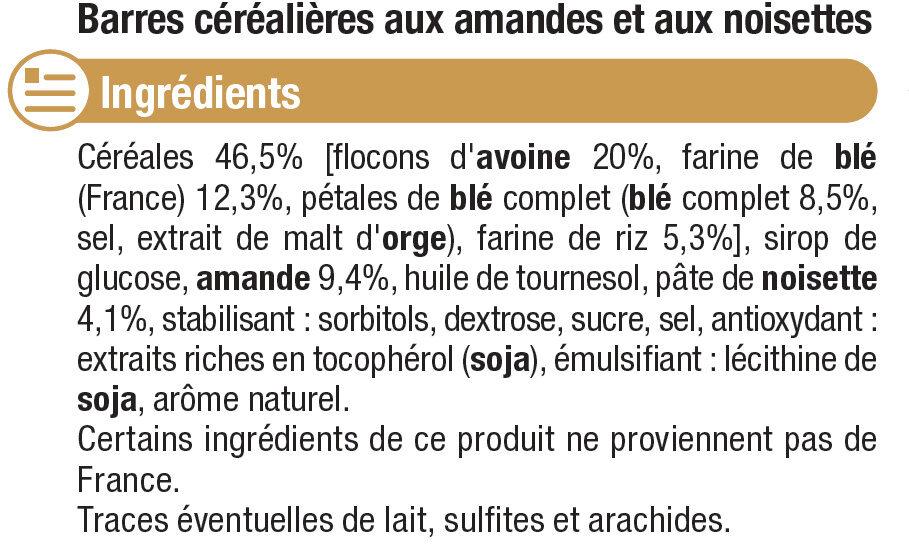 Barres de céréales noisettes - Ingredients