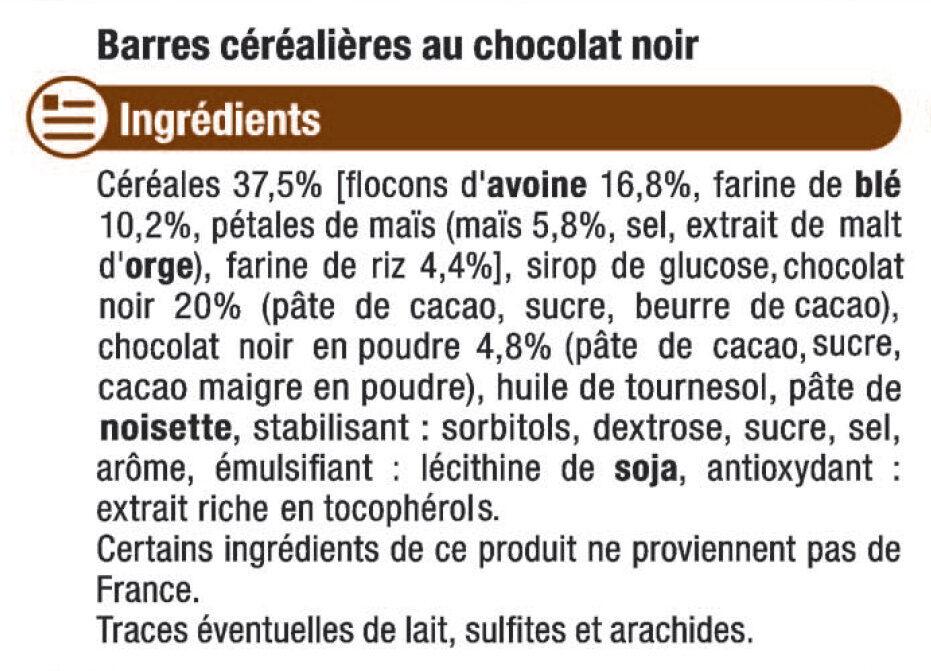 Barre de céréales au chocolat noir - Ingrediënten