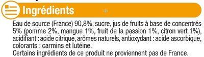 Boisson à base d'eau de source aromatisée au jus de fruits tropical - Ingrediënten - fr