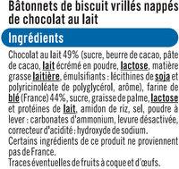 Stikéo batonnets chocolat lait - Ingrédients - fr