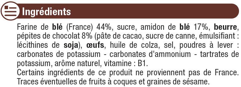 Biscuits pépites de chocolat - Ingrediënten