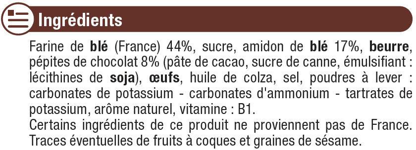 Biscuits pépites de choco d.18 mois - Ingrediënten - fr