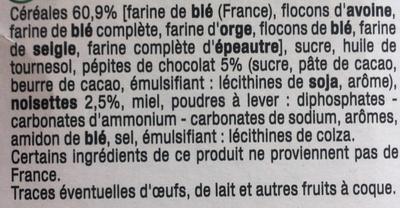 P´tit déj Noisettes Pépites de chocolat - Ingrediënten