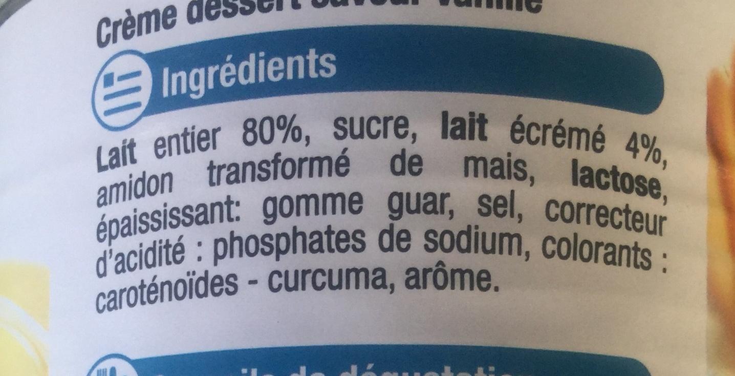 Saveur vanille creme dessert - Ingredients