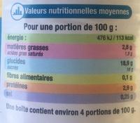 Saveur vanille creme dessert - Nutrition facts