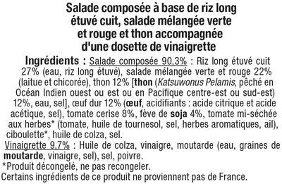 Salade riz thon oeuf et crudités - Ingrediënten