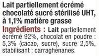 Lait UHT arôme chocolat - Ingrédients