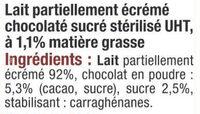 Lait UHT arôme chocolat - Ingrédients - fr