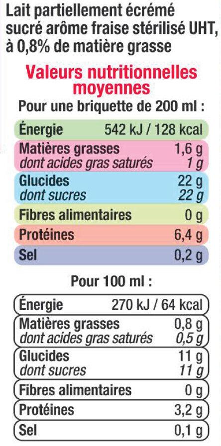 Lait UHT Arôme Fraise - Nutrition facts - fr