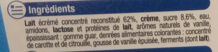 Rêve de Lait vanille - Ingredients