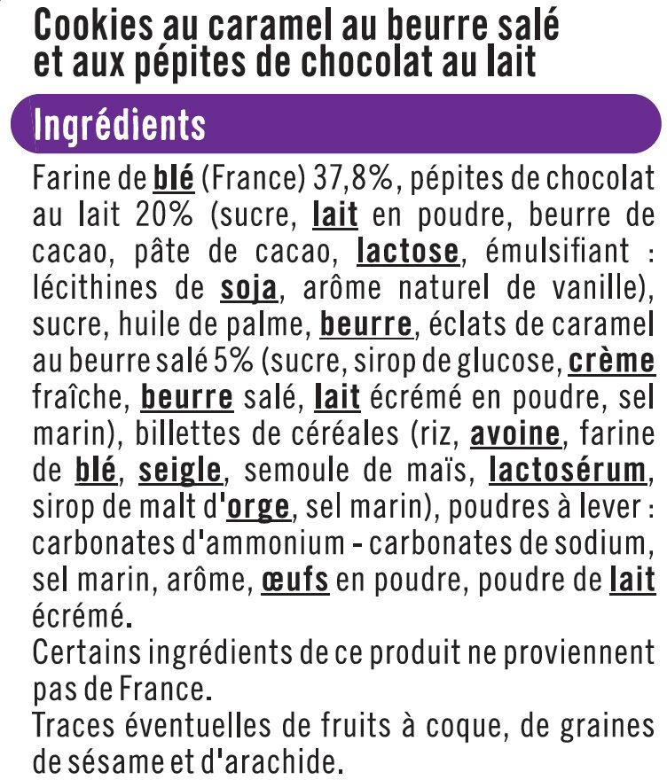 Cookies goût caramel pépites de chocolat au lait - Ingredients - fr