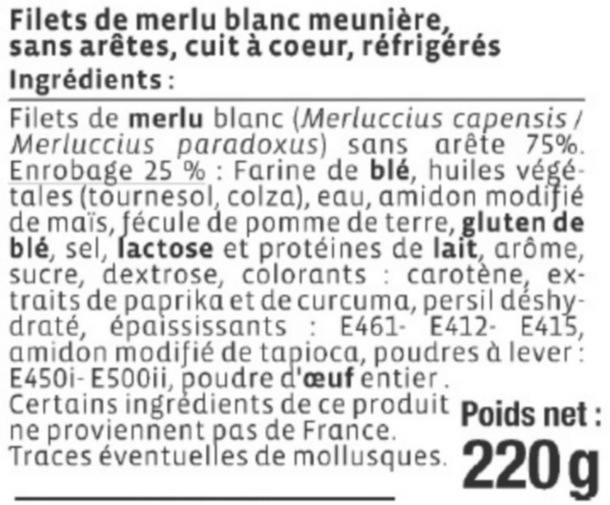Filet de merlu blanc meunière, - Ingredients