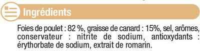 Foies de volaille confits cuits dans la graisse de canard - Ingredients - fr