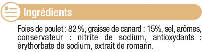 Foies de volaille confits cuits dans la graisse de canard - Ingrédients - fr