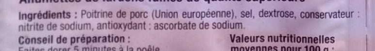 Allumettes Lardon Fumés - Ingrédients - fr