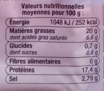 Allumettes Lardon Fumés - Informations nutritionnelles